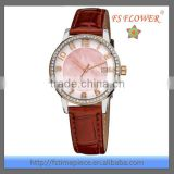 Brown Genuine Leather Quartz Women Vogue Watch Diamond Stainless Steel Watch Manufacturers China