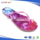 The popular new arrival slippers with shinny double color strap ladies pink sandals for beach walk thong flip flops for women