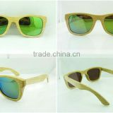 2014 100%handmade&hot selling color lens bamboo wood sunglasses with FDA approval
