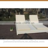 Double Seat Rattan Sun Bed Lounge