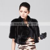 Black short mink fur women coat wholesale
