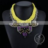 high quality vintage colorful rhinestone chunky statement necklace tin alloy fashion women pendant necklace 6390049