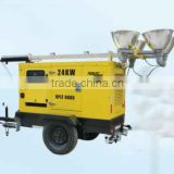 Mobile metal halide lamp tower numbers of floodlights,power of lamp and genset customized manual winch