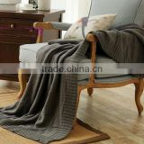 new latest low MOQ thick chunky cotton knitted throw blanket