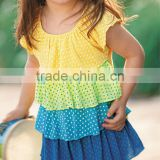 LITTLE GIRLS TIERED TOP WITH MULI COLOUR PRINTED RUFFLES