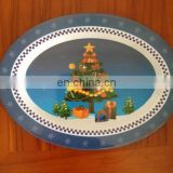 Fashion and cheapper melamine plate with christmas tree printing (melamine dishware ,melamine ware,melaminetableware )