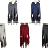 B20151014 With FRINGE SOLID COLOR PONCHO bordure poncho