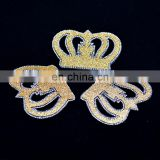 Wholesale Gold Color Crown Crystal Rhinestones Patches Hotfix Crystal Motifs For Coat Clothes