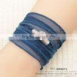most selling product Dark blue silk wrap bracelet with flower of life charm imbedding zircon bracelet jewelry