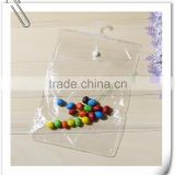 plastic Clear garment / underwear packaging Hook bag hanging plastic pouch with button closure