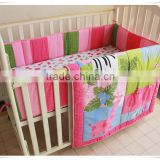 pink animals baby fitted bed skirt from professional manufacturer