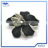 BLACK FLOWER RHINESTONE BROOCH WHOLESALE