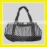2016 Casual Products Bros Stripes Black White Dots And Stripe Nylon Zippered Waterproof Barrel Duffel Sport Shoulder Bag