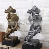 Silence is gold thinker human head ceramic art craft for living room decoration                                                                                                         Supplier's Choice