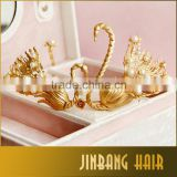 Women luxurious crown kiss swan gold plated queen pearl jewelry wedding accessories best festival gifts for girls