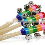 Baby Rainbow Toy Kid Pram Crib Handle Wooden Activity Bell Stick Shaker Rattle