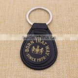 Oval black leather keychain/blank metal car keychain custom unique logo                                                                                                         Supplier's Choice