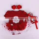 2015 children Chrismas clothings baby short sleeve tutu jumpsuit and headbands and shoes sets ( 3 in 1)