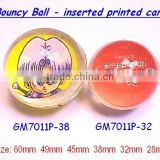 bouncy ball with <b>printed</b> paper inserted
