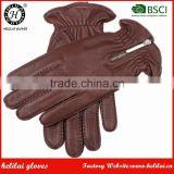 Wholesale Winter Men's Handsewn Cashmere Lined Deerskin Leather Gloves with Zip Detail