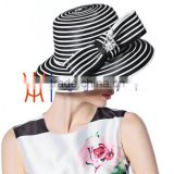 New Arrival Satin Ribbon Make Church Hats For Women Black And White