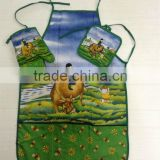 Kitchen 3pcs set: oven mitt,pot holder, apron, rural scenery