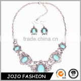 2016 new beautiful wholesale african fashion turquoies earring and necklace set 18k gold plated 925 silver jewelry sets                                                                                                         Supplier's Choice