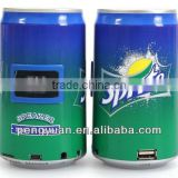 Portable gift can mini speaker beer /Cocacola/can shape mini speaker with tf card/usb laptop SAMSUNG &IPHONE(5watt)