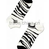 Bulk Production Unisex Men's Women's Combed Cotton White and Black Cool Zebra Low Cut Ankle Socks