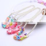 Hot Kids Baby Girls Jewelry Imitation Pearl Beads Cute Flower Necklace Bracelet Lovely Children Set Gift