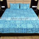 Block Print Patchwork Handmade Bedspread Cotton Floral Print Bedding With Two Pillow Covers Ethnic Throw