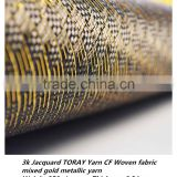 Excellent 3K Jacquard carbon fiber woven fabric mixed gold metallic yarn high quality fabric