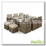 Audu Natural Rattan Outdoor 6 seat rattan cube set with footstools