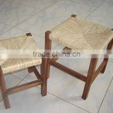 solid small wood children chair with ratten cushion