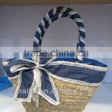 fashion seagrass handmade bag with beautiful decoration