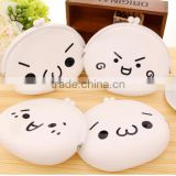 cute children coin purse silicone emoji coin wallet/ key mini bag