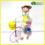 Wholesale Wrought Iron Metal Bicycle Garden Ornaments With Lovey Girl And Planter