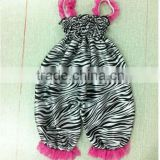 Hot Sales lovely Infant Bubble Romper Zebra Animal Print Satin Baby Romper With Lace Strap