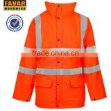 workers winter safety jacket for men oxford fabric waterproof high visibility reflective tape waterproof parka
