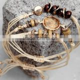fashion beige wax cord woven bracelets sets diy handmade wooden beads crystal charms bracelets sets for friendship bracelets
