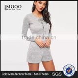 Grey Lace Up Romper Cut Hole Button With Long Sleeve Custom Cotton Blends Stretchy Slim Women Pyjamas