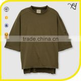 High Quality Men Custom Plain French terry Crewneck Raw Hem Oversized Sweatshirts with 3/4 Sleeve