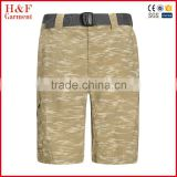 Mens camo shorts camouflage all over printed cargo short with belt khaki