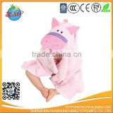 2017 pretty cute pink pig hooded baby bathrobe