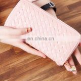 High Quality Sheepskin Genuine Leather Woven Women Long Wallet 6colors Designer Bags Women Purses And Handbags