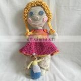 handmade knitted crochet beautiful braided hair big smile doll toys gifts for girl