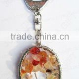 Red Agate Oval shape gemstone pendand keyring wired lucky tree,keychain