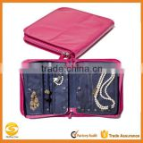 Custom Leather Jewelry case,pink leather jewelry pouch,Jewelry travel carrying case