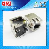Female Right Angle RJ45 Modular Jack with Transformer
