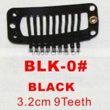 BLK-0# Retail and wholesale 32mm long black color 9 straight teeth easy snap clips for hair extensions wigs wefts weavings